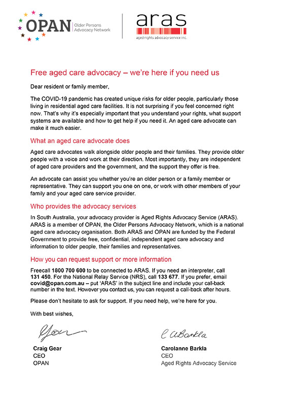 Letter to residents and their families or representatives